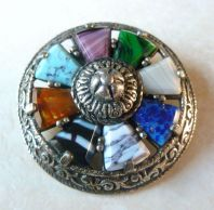 Vintage Miracle Shield Brooch With Varying Mock Gemstones.